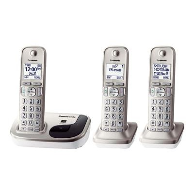 Panasonic KX-TGD213N KX-TGD213N - Cordless phone with caller ID/call waiting - DECT 6.0 Plus - champagne gold + 2 additional handsets
