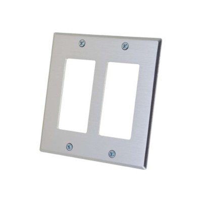 Cables To Go 41336 Two Decora Compatible Cutout Double Gang Wall Plate - Mounting plate - aluminum - 2-gang