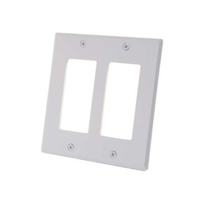 Cables To Go 41337 Two Decorative Style Cutout Double Gang Wall Plate - White - Mounting plate - white - 2-gang