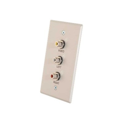 Cables To Go 41013 Single Gang Composite Video + Stereo Audio Wall Plate - Mounting plate - RCA X 3 - brushed aluminum - 1-gang