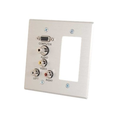 Cables To Go 41027 VGA  3.5mm Audio  Composite Video and RCA Stereo Audio Pass Through Double Gang Wall Plate with One Decorative Style Cutout - Brushed Aluminu