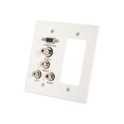 Cables To Go 41028 VGA  3.5mm Audio  Composite Video and RCA Stereo Audio Pass Through Double Gang Wall Plate with One Decorative Style Cutout - White - Mountin