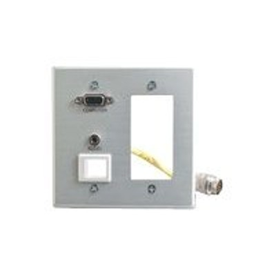 Cables To Go 42354 Double Gang Integrated VGA (HD15) + 3.5mm + Decorative Style Cut-Out Wall Plate - Brushed Aluminum - Mounting plate - HD-15  mini-phone stere