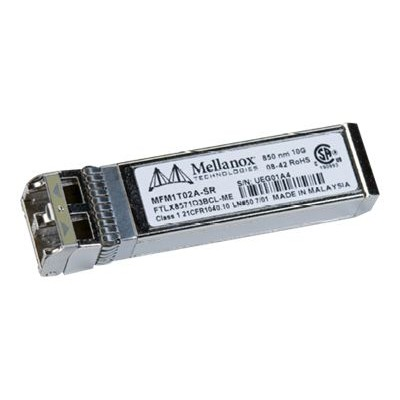 Mellanox Technologies MFM1T02A-SR Active Optical Modules - SFP+ transceiver module - 10 Gigabit Ethernet - 10GBase-SR - LC multi-mode - up to 984 ft - 850 nm -
