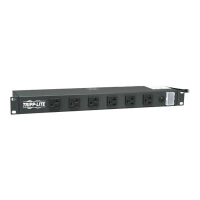 TrippLite 10703436 1U Rack-Mount Power Strip  120V  20A  5-20P  12 Outlets (6 Front-Facing  6-Rear-Facing) 15-ft. Cord