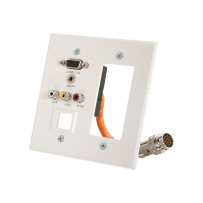 Cables To Go 60080 RapidRun Double Gang Integrated VGA (HD15) + 3.5mm + Composite Video + Stereo Audio + Keystone + Decorative Style Wall Plate - White - Mounti