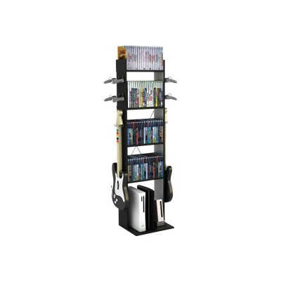 Atlantic 38806138 Game Central Tall - Stand - metal  PVC  wood composite - black silver DVD  Blu-ray Disc