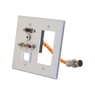 Cables To Go 60044 RapidRun Double Gang Integrated HD15 + 3.5mm + Composite Video + Stereo Audio + Keystone + Decorative Style Wall Plate - Mounting plate - HD-