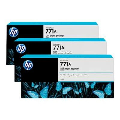 HP Inc. B6Y45A 771A Tri-pack - 3-pack - 775 ml - photo black - original - ink cartridge - for DesignJet Z6200  Z6600  Z6610  Z6800  Z6810