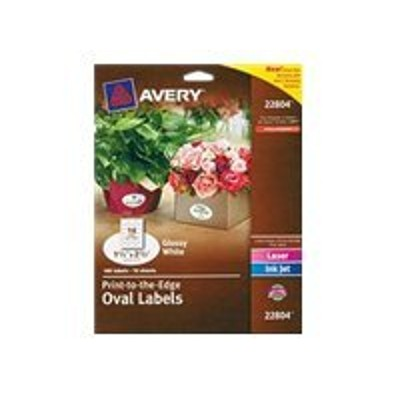 Avery Dennison 22804 Easy Peel Print-to-the-Edge - Labels - permanent adhesive - glossy white - 1.5 in x 2.5 in (oval) 180 label(s) (10 sheet(s) x 18)