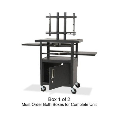 Balt 27530 Height-Adjustable Flat Panel TV Cart  4-Shelf  24w x 18d x 46h - Black - (Box 1 of 2)