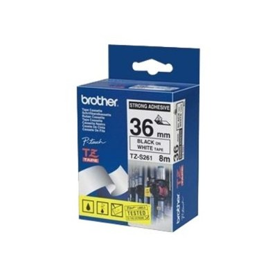 Brother TZES261 TZeS261 - Extra strength adhesive - black on white - Roll (1.42 in x 26.3 ft) 1 roll(s) laminated tape - for P-Touch pt-1005  PT-1010  3600  D21