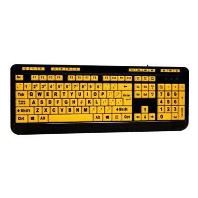 Adesso AKB-132UY Luminous AKB-132UY - Keyboard - USB - black  yellow