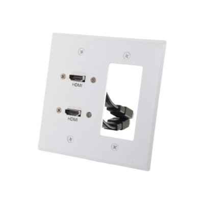 Cables To Go 39708 Dual HDMI Pass Through Double Gang Wall Plate with One Decorative Style Cutout - White - Mounting plate - HDMI X 2 - white - 2-gang