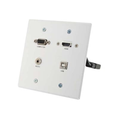 Cables To Go 60146 RapidRun VGA + 3.5mm Double Gang Wall Plate + HDMI and USB Pass Through - Wall plate - HDMI / VGA / audio / USB - USB  HD-15  stereo mini jac