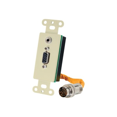 Cables To Go 60053 RapidRun VGA (HD15) + 3.5mm Decorative Style Wall Plate - Ivory - Mounting plate - HD-15  mini-phone stereo 3.5 mm - ivory