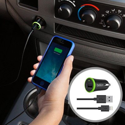Belkin F8J121BT04-BLK BOOST UP Car Charger with ChargeSync Cable(12 watt/2.4 Amp)