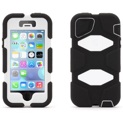 Griffin GB39959 Survivor Extreme-Duty - Protective cover for cell phone - silicone  polycarbonate - black/white - for Apple iPhone 5  5s