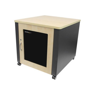 StarTech.com RKQMCAB12 12U Quiet Office Server Cabinet w/ Wood Finish / Casters and Fans - Sound Reducing Cabinet up to 600lbs (272kg)