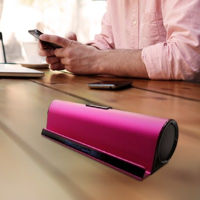Worry Free Gadgets WGF-PNKST-BTSPK Wireless Bluetooth Speaker With iPhone/iPad Stand - Aluminum Alloy Case - Pink