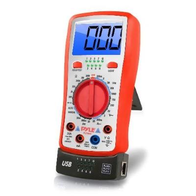 Pyle PLTM40 Digital Backlit LCD Multimeter  AC  DC  Volt  Current  Resistance  Transistor and Range Measurement with Protective Rubber Case