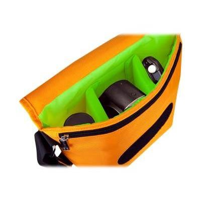 Urban Factory BCR03UF B-Colors - Shoulder bag for digital photo camera with lenses - 1680D nylon - green  orange