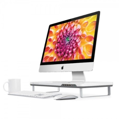 Satechi B00lll78ra F3 Smart Monitor Stand With Four Usb 3.0 Ports And Headphone / Microphone Extension Ports (white)