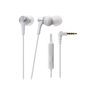 Audio - Technica ATH-CKR3ISWH SonicPro In-Ear Headphones with In-line Mic & Control - White