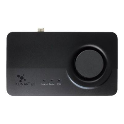ASUS XONAR U5 Xonar U5 - Sound card - 24-bit - 192 kHz - 104 dB SNR - 5.1 - USB - CM6631A