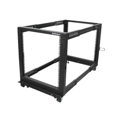 StarTech.com 4POSTRACK12U 12U Adjustable Depth Open Frame 4 Post Server Rack Cabinet w/ Casters / Levelers and Cable Management Hooks