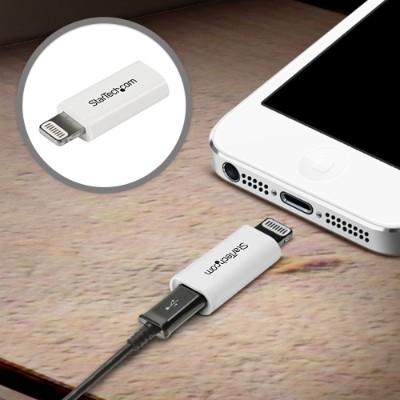 StarTech.com USBUBLTADPW White Apple Lightning to Micro USB Adapter - iPhone iPod iPad - iPad / iPhone / iPod charging / data adapter - Lightning / USB - 5 pin