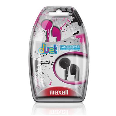 Maxell 196157 Duets Earbuds - Pink / Black