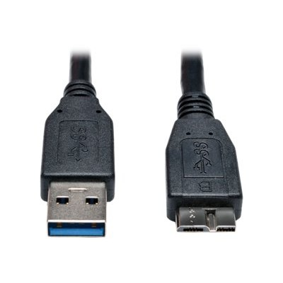 TrippLite U326-001-BK USB 3.0 SuperSpeed Device Cable (A to Micro-B M/M) Black  1-ft.