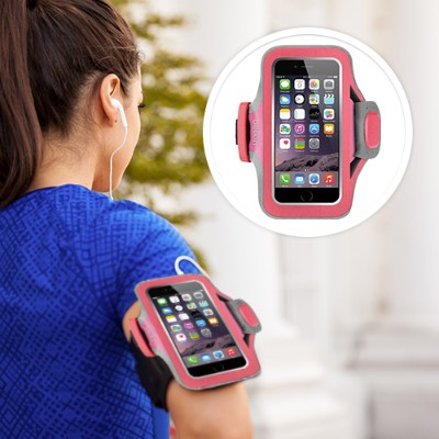 Belkin F8W499BTC01 Slim-Fit Plus Armband - Arm pack for cell phone - neoprene - fuchsia - for Apple iPhone 6s & 6
