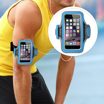 Belkin F8W499BTC03 Slim-Fit Plus Armband - Arm pack for cell phone - neoprene - topaz - for Apple iPhone 6s & 6
