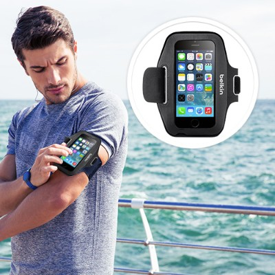 Belkin F8W500BTC00 Sport-Fit Armband - Arm pack for cell phone - neoprene - blacktop overcast - for Apple iPhone 6s & 6