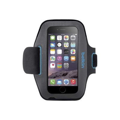 Belkin F8W500BTC03 Sport-Fit Armband - Arm pack for cell phone - neoprene - topaz blacktop - for Apple iPhone 6s & 6