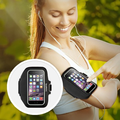 Belkin F8W501BTC00 Sport-Fit Plus Armband - Arm pack for cell phone - neoprene - blacktop  overcast - for Apple iPhone 6s & 6