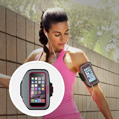 Belkin F8W501BTC01 Sport-Fit Plus Armband - Arm pack for cell phone - neoprene - fuchsia sidewalk - for Apple iPhone 6s & 6