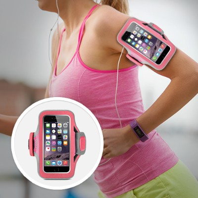 Belkin F8W499-C01 Slim-Fit Plus Armband - Arm pack for cell phone - neoprene - fuchsia  sidewalk - for Apple iPhone 6s & 6