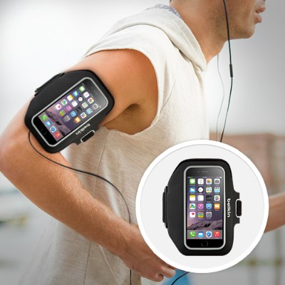 Belkin F8W610-C00 Sport-Fit Plus Armband - Arm pack for cell phone - neoprene - blacktop - for Apple iPhone 6s & 6s & 6 Plus