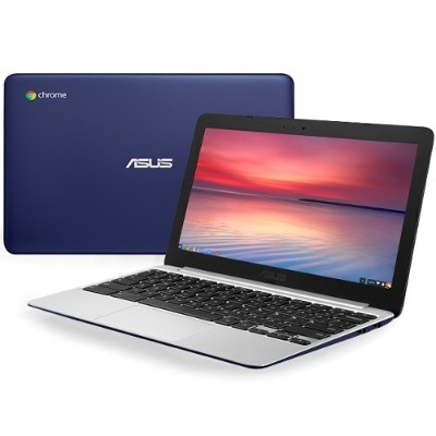 ASUS C201PA-DS02 Chromebook C201PA-DS02 ARM Cortex-A17 Quad-Core 1.8GHz Notebook PC - 4GB RAM  16GB eMMC  11.6 16:9 HD  802.11ac  Bluetooth 4.0 - White/Blue