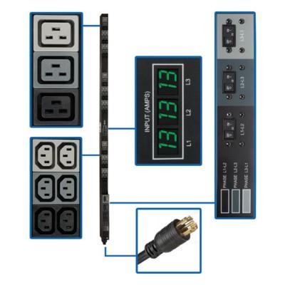 TrippLite PDU3MV6L2130A PDU 3-Phase Metered Vertical 8.6kW 45 208V 30A (36 C13 & 9 C19) L21-30P 6ft Cord TAA GSA