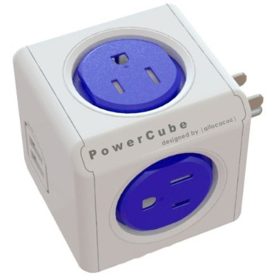 Allocacoc 4200/USOUPC PowerCube Original USB  Electric Outlet Wall Adapter Power Strip with 4 outlets  Dual USB Port and Resettable Fuse - Cobalt Blue