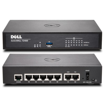 SonicWall 01-SSC-0213 TZ400  4x800MHz cores  7x1GbE interfaces  1GB RAM  64MB Flash - Security Appliance