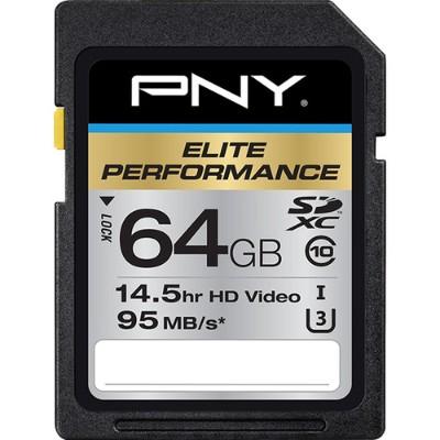 PNY P-SDX64U395-GE Elite Performance 64 GB High Speed SDXC Class 10 UHS-I  U3 up to 95 MB/Sec Flash Card