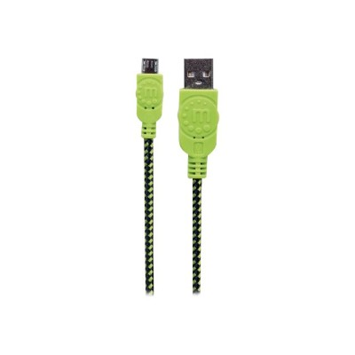 Manhattan 394055 USB cable - Micro-USB Type B (M) to USB (M) - USB 2.0 - 6 ft - molded - black/green