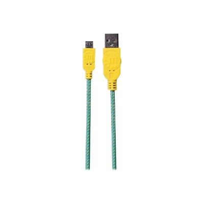Manhattan 394000 USB cable - Micro-USB Type B (M) to USB (M) - USB 2.0 - 3.3 ft - molded - teal/yellow