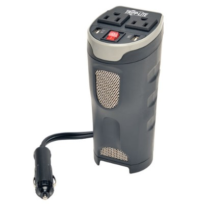 TrippLite PV200CUSB 200W PowerVerter Ultra-Compact Car Inverter with 2 Outlets and 2 USB Charging Ports  Cup Holder Design