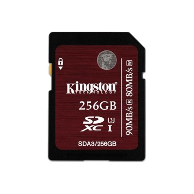 Kingston SDA3/256GB 256GB SDXC UHS-I Speed Class 3 90MB/s read 80MB/s write Flash Card